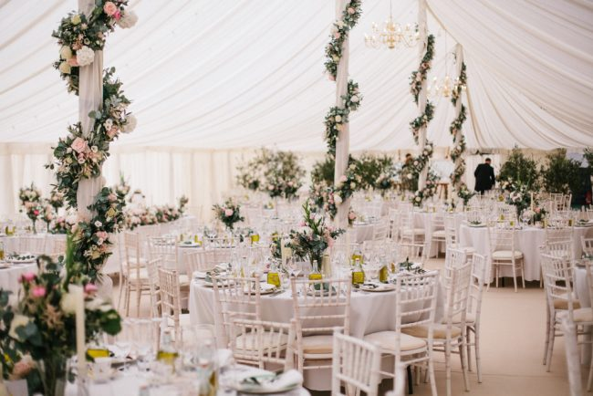 pole tent decoration with flower